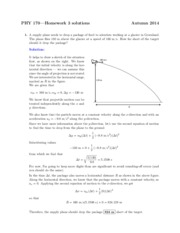 Solutions to Homework on Projectile Motion and Tension