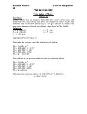 Business Finance - ACC501 Spring 2005 Assignment 02 Solution