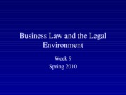 Spring+2010+Business+Law+and+the+Legal+Environment+-+Week+9[1]