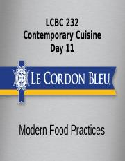 c232 day 11 - Modern Food practices
