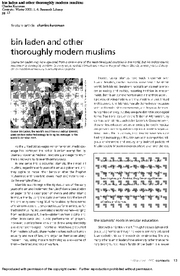 GOVT 331 Kuzman - bin Laden and other Thoroughly Modern Muslims