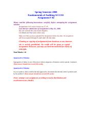Fundamentals of Auditing - ACC311 spring 2008 Assignment 04 solution.doc