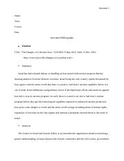 Annotated bibliography, Dangers of Nuclear in Iran.docx