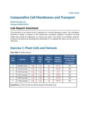 Comparative Cell Membranes and Transport.docx