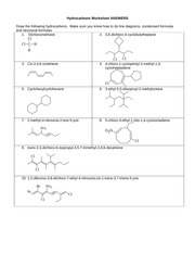 Hydrocarbons Worksheet Answers
