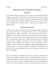 bourgeois and proletarians thesis The communist manifesto by karl marx - i—bourgeois and proletarians summary and analysis.