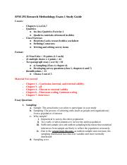 SPM 295 Research Methodology Exam 1 Study Guide.docx