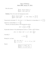 Quiz 3 Solution on Linear Analysis