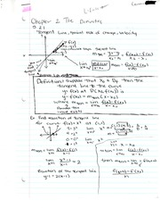 Chapter 2 Notes- The Derivative