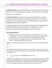 7.1 - Sampling Distributions and the Central Limit Theorem - FA14
