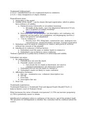 Class Notes - Trademark and Unfair Competition (Spring 2014)