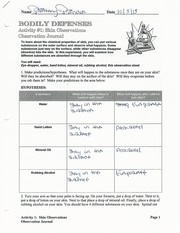 Bodily Defenses Worksheet