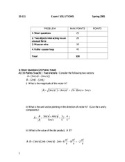 Past Exam 1 Solutions