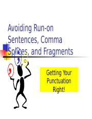 Grammar Lesson on Fragments, Run-ons, Comma Splices Updated.ppt