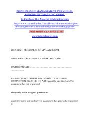 PRINCIPLES OF MANAGEMENT INDIVIDUAL ASSIGNMENT MARKING GUIDE