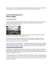 United Nations 1948 Universal Declaration of Human Rights(1)