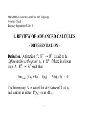 Math 600ZB - 01. Review of Advanced Calculus - Differentiation