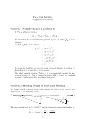 PHYS 231 Fall 2014 Assignment 6 Solutions