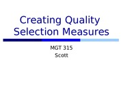 Week 1.Class 2.Creating Quality Selection Measures