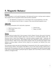 Magnetic Balance Experiment Manual