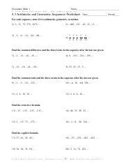 4 3 Arithmetic And Geometric Sequences Worksheet 2015 Pdf Secondary Math 1 Name U00a9q Y2q0g1f5a Pkpuztyav Dsaozfmtzwqagrqes Dlvlucu R J Wall Lg Course Hero