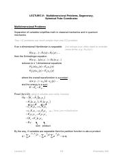 21. Multidimensional Problems, Degeneracy, Spherical Polar Coordinates