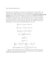 Final Exam Review on Calculus II
