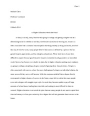 higher education in class essay