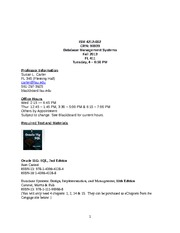 Database Management Systems ISM4212 Syllabus-Schedule Fall 2013 Carter