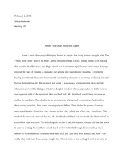Shitty First Draft Reflection Paper