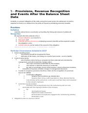 Lecture 5 - Provisions, Revenue Recognition and Events After the Balance Sheet Date