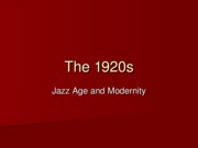 Lecture 11 - The 1920s