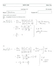 MATH 1500 Quiz 2 Solutions