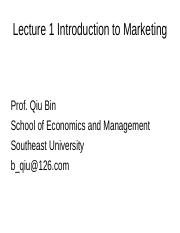Marketing--Lecture 1