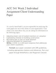 ACC 541 Week 2 Individual Assignment Client Understanding Paper
