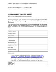 Assignment 1 cover sheet 2016