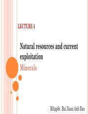 Lecture 4 Natural resources and utilization (Mineral)
