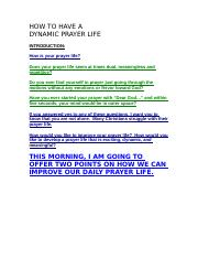 Prayer (How To Have A Dynamic Prayer Life)