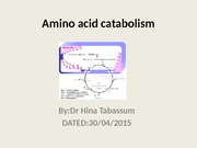 Metabolism of amino acid intro
