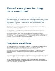 Shared care plans for long term conditions