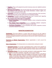 Principles of Marketing - Notes