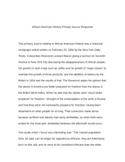 African American History Primary Source Response history 151