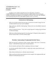 ANTHROPOLOGY 135 Study Guide Exam 1