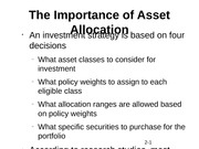 The Importance of Asset Allocation