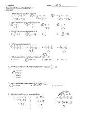 Review Packet Part I Solutions