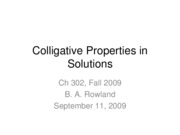 Lecture 4--Colligative Properties in Solutions