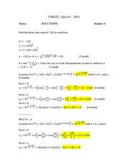 CHE 222 Spring 2014 Quiz 5 Solutions