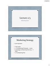 Marketing 2013 Lecture 2 and 3 (student for BB)(1)