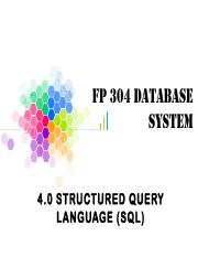 4.0 STRUCTURED QUERY LANGUAGE