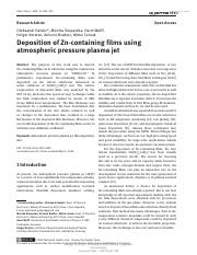 Deposition of Zn-containing films using atmospheric pressure plasma jet.pdf